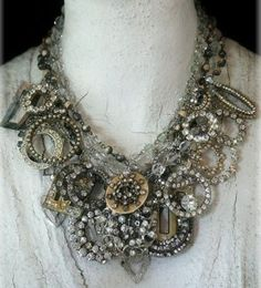 old rhinestones and silver lavishly combined in one statement neck piece