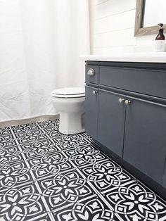 DIY stencilled bathroom floor