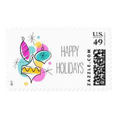 Retro Tree Baubles Group Holidays postage stamp - christmas stamps custom merry xmas postage diy customize