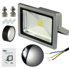 Esco-Lite Waterpoof Outdoor Security 20W White LED Floodlight Kits IP66 (With 2 Screws  Electrical Tape  3 AC wire caps)AC110-240V for Home Garden Project DIY -- Unbelievable  item right here! : home diy lighting