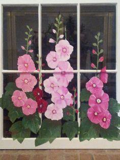 Hollyhocks painted on an old window #windows #paintedwindows #acrylic