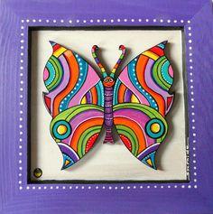 """Tableau en bois peint du papillon """"Denzel"""" : Décorations murales par sylphide"""