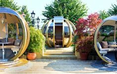 G-PODS are sleek prefabricated  Norwegian Spruce-clad structures, they come in four different models that fit  from five to 14 people and can be placed just about anywhere, including rooftops and gardens.