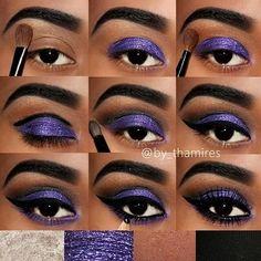 Metallic purple winged eye makeup tutorial for brown eyes #evatornadoblog
