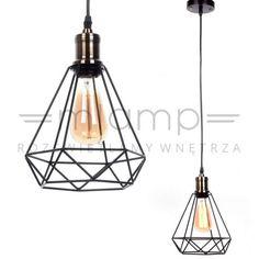Druciana LAMPA wisząca COBI LDP 11609 (BK) Lumina Deco industrialna OPRAWA metalowa ZWIS diament drut czarny