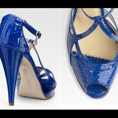 Oscar de la Renta blue dotted pumps NWOT. These gorgeous blue dotted patent leather pumps are never been worn and must have for this summer!!! Made in Italy and size 39EU. Run true to size. Price is firm! Low ballers will be ignored! Sorry.😘 Oscar de la Renta Shoes Heels