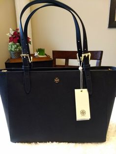 ec29c9e7e52 Authentic Tory Burch York small buckle tote. Navy blue color.  fashion   clothing  shoes  accessories  womensbagshandbags (ebay link)
