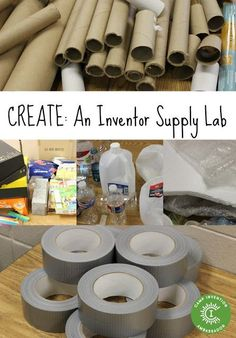 Create an Inventor Supply Lab with Recycled Materials STEM Activities for Kids Stem Science, Preschool Science, Science Classroom, Science For Kids, Physical Science, Science Education, Earth Science, Science Labs, Elementary Science