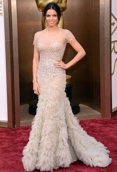 JENNA DEWAN TATUM Channing Tatums Wife Stayed On The Glittery Trend With A Nude Reem Acra Gown Beaded Bodice Jenna Dewan Tatum From Sparkling