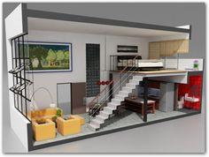 23 ideas for house ideas tiny loft Mini Loft, Studio Loft Apartments, Small Apartments, Small Spaces, Loft Studio, Studio Apartment, Apartment Layout, One Bedroom Apartment, Bedroom Loft