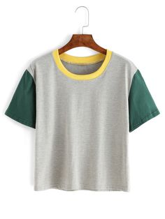 Shop Contrast Crew Neck Grey T-shirt online. SheIn offers Contrast Crew Neck Grey T-shirt & more to fit your fashionable needs. Personalized T Shirts, Grey Shirt, Cute Shirts, Cotton Tee, Cool Outfits, T Shirts For Women, Crop Tops, Clothes, Crew Neck