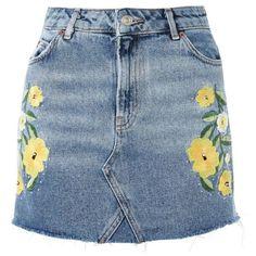 Women's Topshop Floral Stud Denim Miniskirt ($68) ❤ liked on Polyvore featuring skirts, mini skirts, mid denim multi, embroidered skirt, blue skirt, blue mini skirt, embroidered denim skirt and short skirts