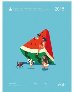 수박 (watermelon) on Behance Family Illustration, People Illustration, Flat Illustration, Character Illustration, Graphic Design Illustration, Digital Illustration, Graphic Design Posters, Graphic Design Inspiration, Watermelon Illustration