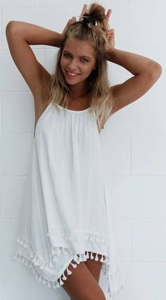 #summer #mishkahboutique #outfits | White Tassel Dress