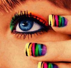 Rainbow Zebra nails plus eye make up Rainbow Zebra, Rainbow Nails, Rainbow Eyes, Rainbow Magic, Rainbow Brite, Neon Rainbow, Rainbow Colours, Cute Nails, Pretty Nails