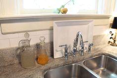Tallgrass Design: Mary Carol Garrity Fall Home Tour 2012, Part 1. Note white platter behind faucet. Great idea.
