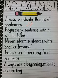 I NEED to make a poster of this!! Writing anchor chart: No Excuses! Always include ending punctuation and begin every sentence with a capital letter!!