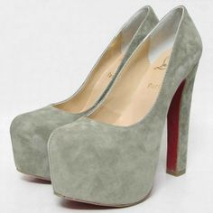 cheap red bottom Christian Louboutin Daffy 160mm Suede Platform Pumps Grey for sale