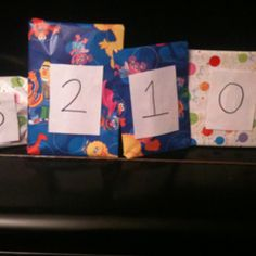 """When going out of town and leaving the kiddo behind, wrap a small """"surprise"""" for them to open each morning when they wake up. Mark each gift with the corresponding number of days until you return. Not only provides a new activity for the family member or babysitter to do with them that day, but also provides incentive to go to sleep at night since there will be a present waiting for them when they wake up. Not to mention, it helps learning to count backwards!"""