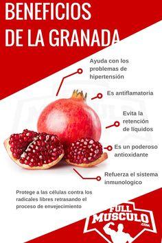 Infografía de los beneficios de la granada. Ayuda con los problemas de hipertensión, es antiflamatoria, evita la retención de líquidos, es un poderoso antioxidante y refuerza el sistema inmunologico.