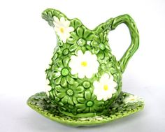 Vintage Green Daisy Pitcher & Plate Set with White Flowers, Collectible Ceramic Ardco Dallas Made in Japan, Spring Colors Mother's Day Gift