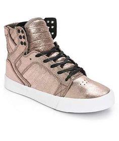 Supra Women's Skytop Rose Gold Metallic Shoes