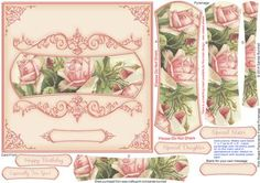 Pink Roses Panoramic Frame Pyramage on Craftsuprint designed by Sandie Burchell - Beautiful 6.5 inch Square Card with panoramic shaped pyramage with ornate frame. Apply to an 8 inch card blank to fit into a standard 8 inch square envelope, if desired. Sentiment Panels include: Happy Birthday, Especially For You!, Special Daughter, Special Sister or Blank for your own peel-off lettering or stamp. There is also a Matching Insert for this design please see related sheets. To see more of these…