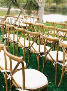 Cross-back ceremony chairs - wooden, outdoor wedding chairs - Find an event planner on WeddingWire! {ALL ABOUT EVENTS} Outdoor Wedding Chairs, Wedding Ceremony Chairs, Ceremony Arch, Wedding Ceremony Decorations, Aisle Markers, Flower Lights, Photo Location, Wedding Couples, Wedding Planning