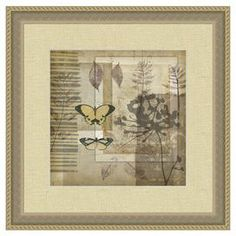 """Celebrate naturally chic appeal with this lovely wall decor, showcasing colorful butterflies and falling leaves. Display it in your parlor to bring the outdoors in, or group it with other artwork for a gallery-style display.    Product: Wall artConstruction Material: Framed: Canvas and woodUnframed: PaperColor: Gold frameFeatures: Made in the USA Dimensions: Framed: 19"""" H x 19"""" WUnframed: 12"""" H x 12"""" W"""