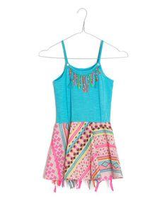 Turquoise & Pink Geometric Fringe Skater Dress - Toddler by Mim Pi #zulily #zulilyfinds