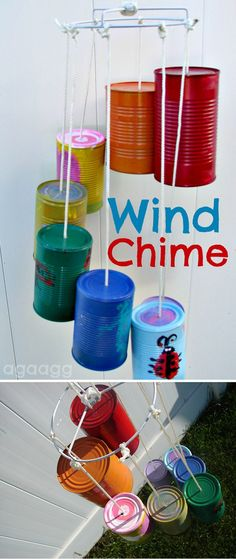 Easy Homemade Recycled Wind Chime Craft for Kids | Tin Can Wind Chime by DIY Ready at http://diyready.com/32-diy-wind-chimes/
