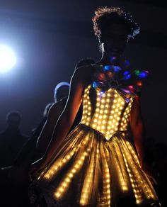 A model wears an LED lights creation of designer Angela Dale at the Consumer Electronics Show (CES) in Las Vegas on Jan. 9, 2014. CES, the world's largest annual consumer technology trade show, runs from Jan. 7-10 and is expected to feature 3,200 exhibitors displaying their latest products and services to about 150,000 attendees.