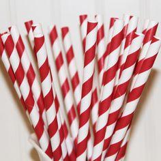 Canudos de Papel Listrado Vermelho e  Branco - (Paper Straws) - Vanilla Outlet