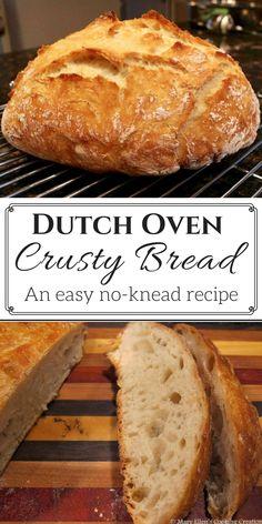 easy, no-knead, Dutch oven crusty bread recipe. So easy you'll never buy bread again!An easy, no-knead, Dutch oven crusty bread recipe. So easy you'll never buy bread again! Artisan Bread Recipes, Easy Bread Recipes, Cooking Recipes, Crusty Bread Recipe Quick, Cooking Games, Cooking Classes, Easy Dutch Oven Recipes, Dutch Oven Desserts, Same Day Bread Recipe