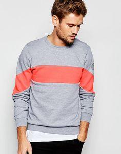 Replay | Replay Crew Sweatshirt Insert Chest Stripe in Grey Melange at ASOS