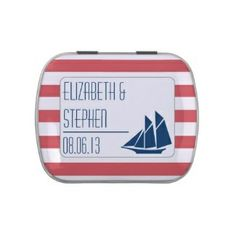 Nautical theme bridal shower mint tin #bridalshowerfavors #nautical #stripes