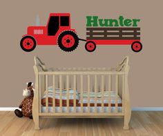 Tractor Wall Decal | Red Tractor Wall Decal | Boys Bedroom Decal | Tractor Room Decor |  Boys Bedroom Decor |  Farm Decor | Country by JensVinylDecals on Etsy https://www.etsy.com/listing/223647888/tractor-wall-decal-red-tractor-wall
