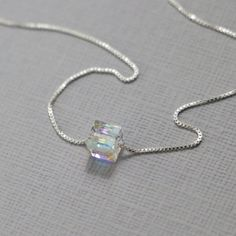 Swarovski Cube Necklace, Sterling Silver Layering Necklace, Bridesmaid Necklace Gift for Her Bridesmaid Jewelry Personalized Bridesmaid Gift