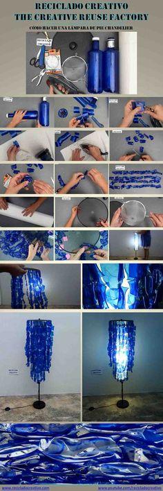 Infographic Lampara de pie Chandelier con botellas de plástico pet Reciclado Creativo