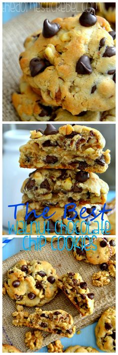 The BEST Walnut Chocolate Chip Cookies! Soft, thick, buttery, and loaded with gooey chocolate and toasted walnuts - these taste like famed NYC Levain Bakery cookies, just made at home! #cookies #chocolate #bakery