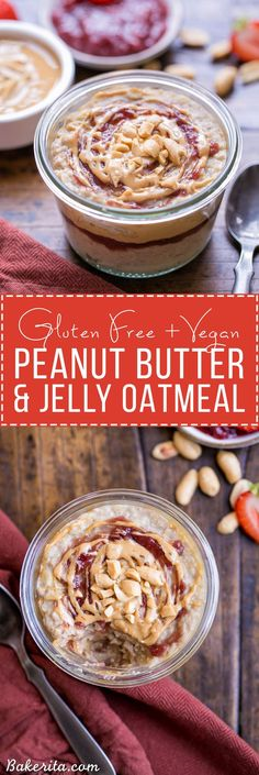 Start your morning with Peanut Butter & Jelly Oatmeal for a healthy & delicious breakfast treat! This gluten-free and vegan oatmeal is sweetened with a ripe banana. #BRMOats #ad @Bob's Red Mill