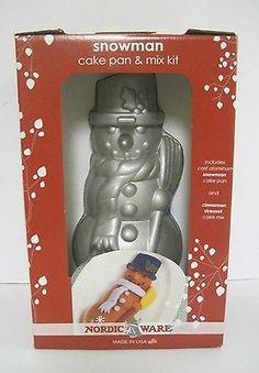 """Nordic Ware Snowman Aluminum Cake Pan 11"""""""