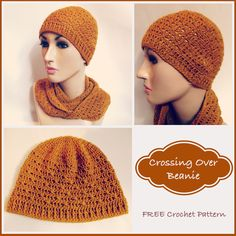 Free crochet pattern for a crossing over beanie. The beanie pattern can be crocheted to fit any head size. I used a fine yarn, however, I wouldn't see why it wouldn't work with any other yarn.