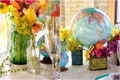 vintage travel themed party   summer travel wedding party inspiration, traveling, luggage, globes ... love these colors