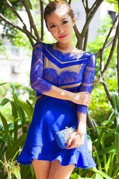 Royal Blue Crochet Detailed Dress OASAP.com
