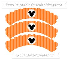 Free Pumpkin Orange Striped  Mickey Mouse Scalloped Cupcake Wrappers