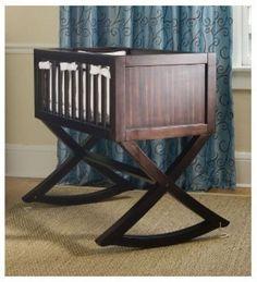 Cradle Baby Bed Bassinet Dark Wood Rocking Newborn Kid Nursery Furniture Bedroom #GreenFrog