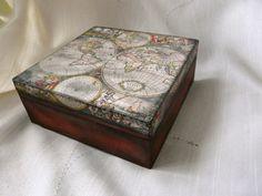 Jewelry Storage Wood Box Old World Map Box Map by TwoCatsAndAnOwl