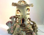 Mushroom house lamp, nursery lamp, childs nightlight, table lamp. - pinned by pin4etsy.com
