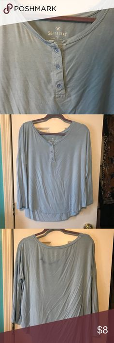 AE Soft & Sexy Henley Baby blue, super cute, has dye stain on the back but I think you could get it out with the right products! :) American Eagle Outfitters Tops